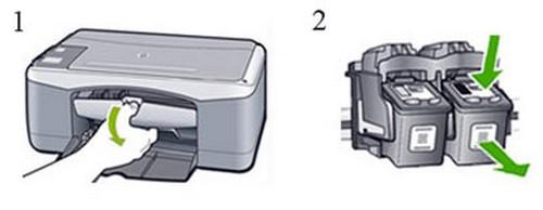 как поменять картридж в принтере hp