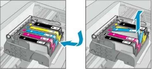 как менять картридж в принтере hp