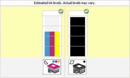 как посмотреть уровень чернил в принтере hp