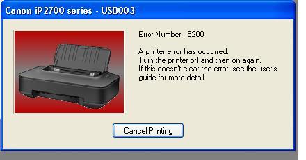 ошибка принтера кэнон 5200